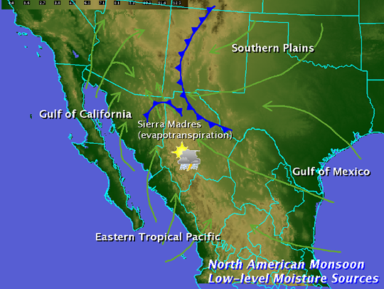 Tucson Phoenix Monsoon Season map